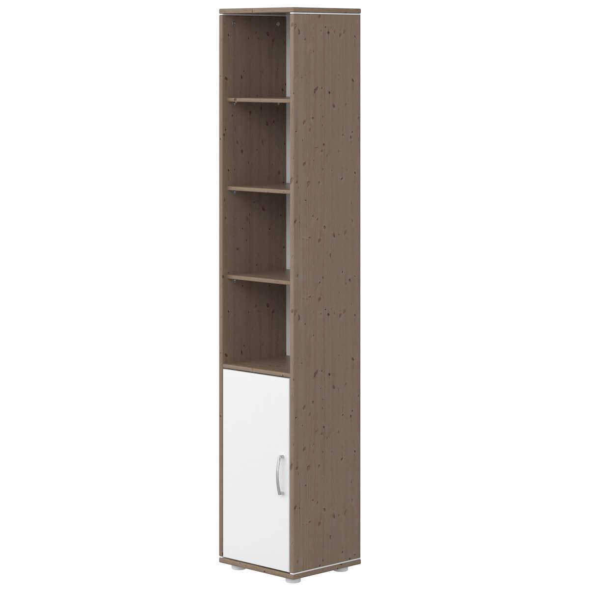 Bibliothèque 38x202cm 1 porte 3 tablettes CLASSIC Flexa blanc-terra