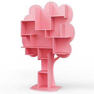 Bibliothèque arbre LOUANE Mathy by Bols rose très clair