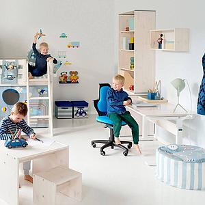 Bureau enfant réglable blanchi/métallique FLEXA