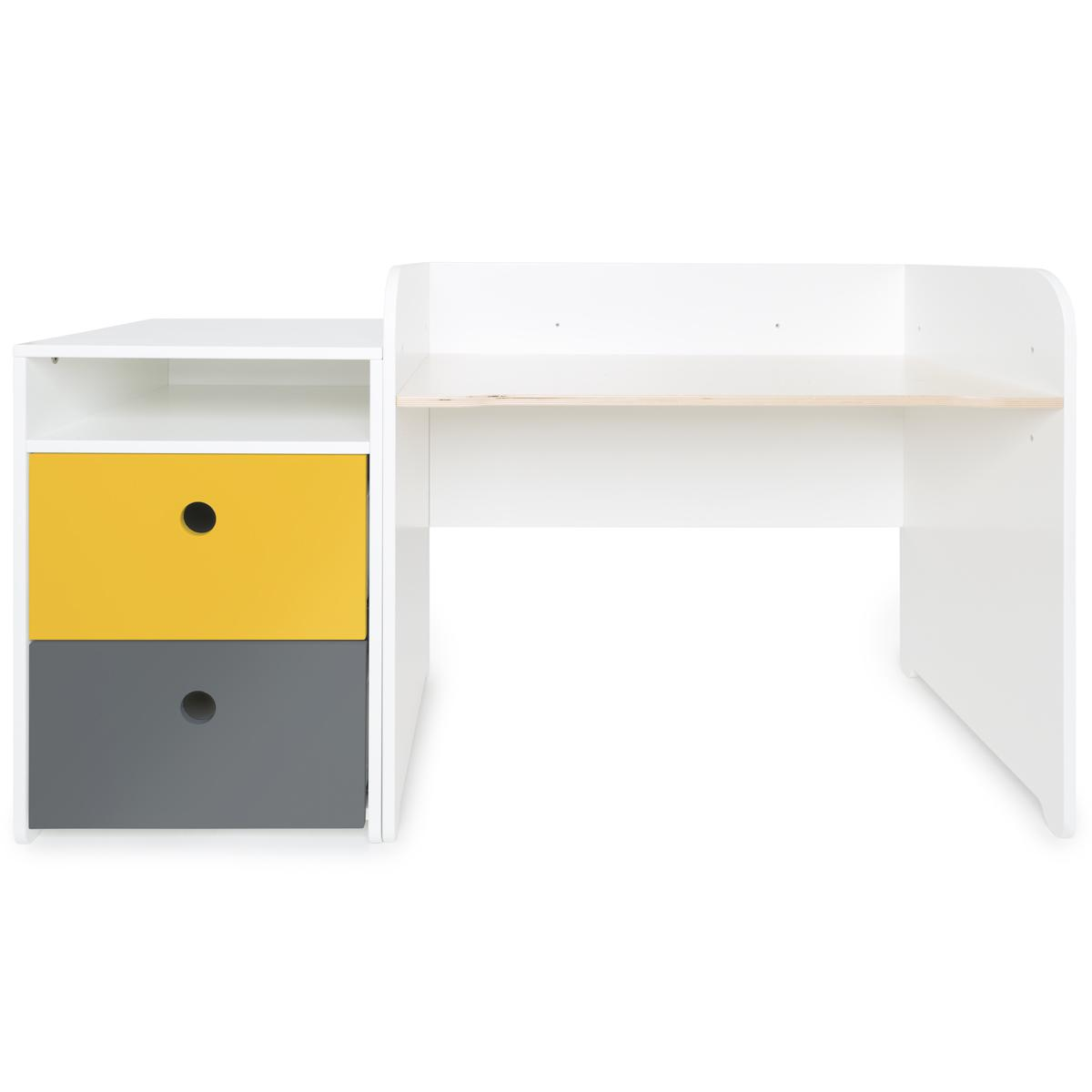 Bureau évolutif-petit meuble 2 tiroirs COLORFLEX Abitare Kids nectar yellow-space grey