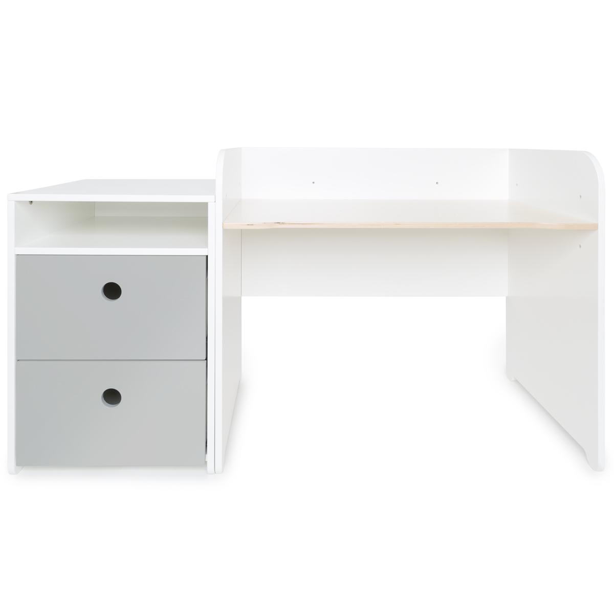 Bureau évolutif-petit meuble 2 tiroirs COLORFLEX Abitare Kids pearl grey