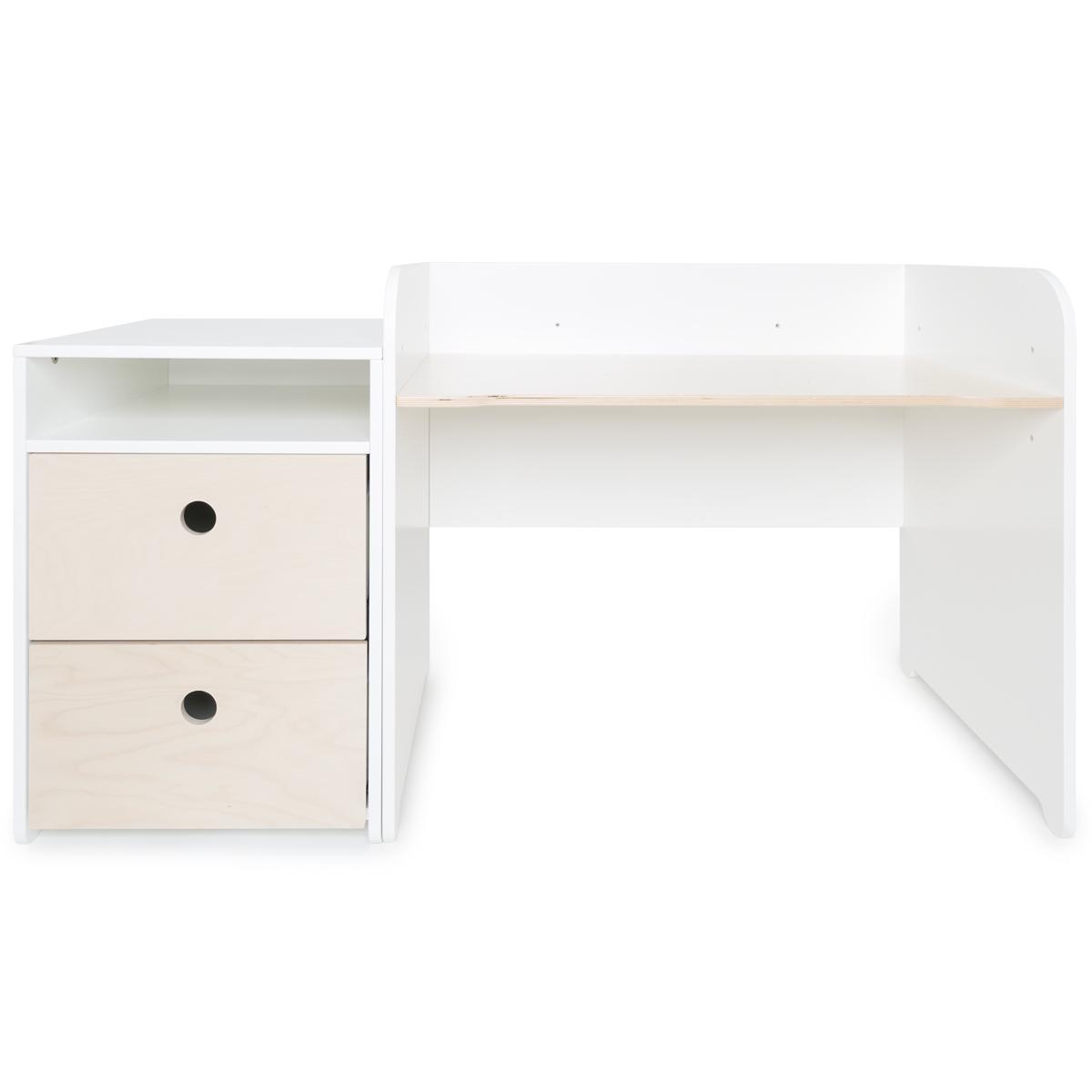 Bureau évolutif-petit meuble 2 tiroirs COLORFLEX Abitare Kids white wash