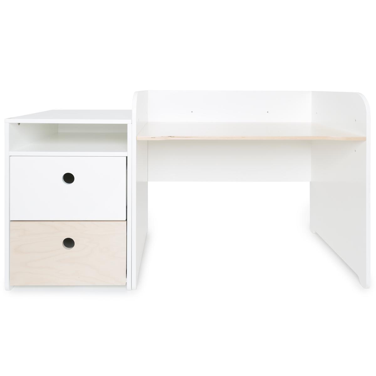 Bureau évolutif-petit meuble 2 tiroirs COLORFLEX Abitare Kids white-white wash