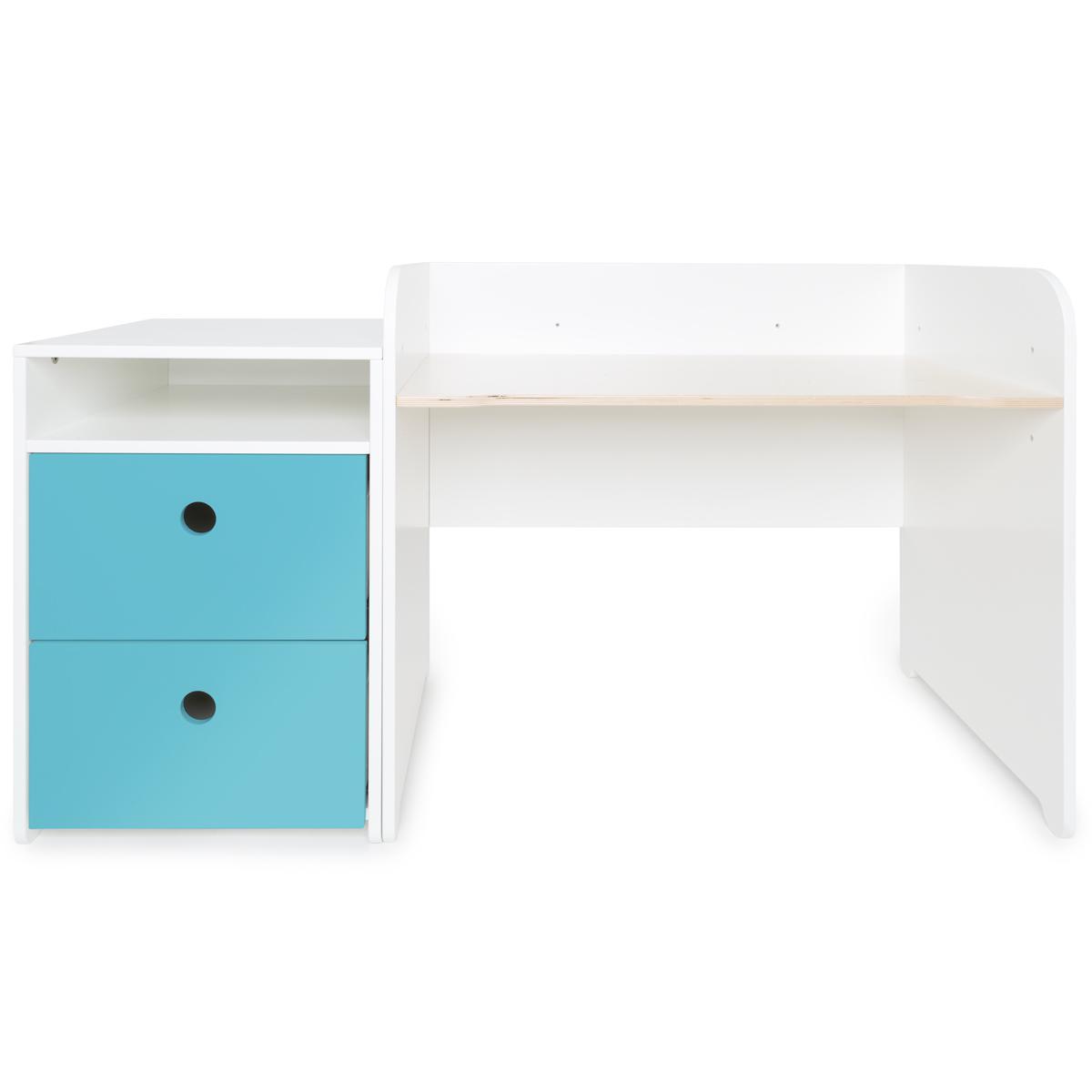 Bureau évolutif-petit meuble 2 tiroirs COLORFLEX paradise blue