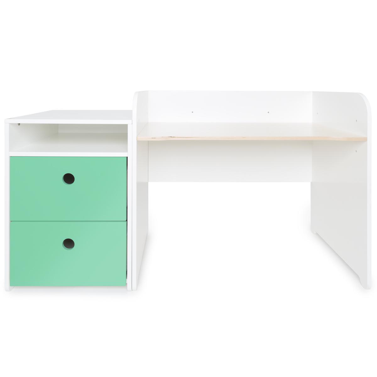 Bureau évolutif-petit meuble 2 tiroirs COLORFLEX sea foam