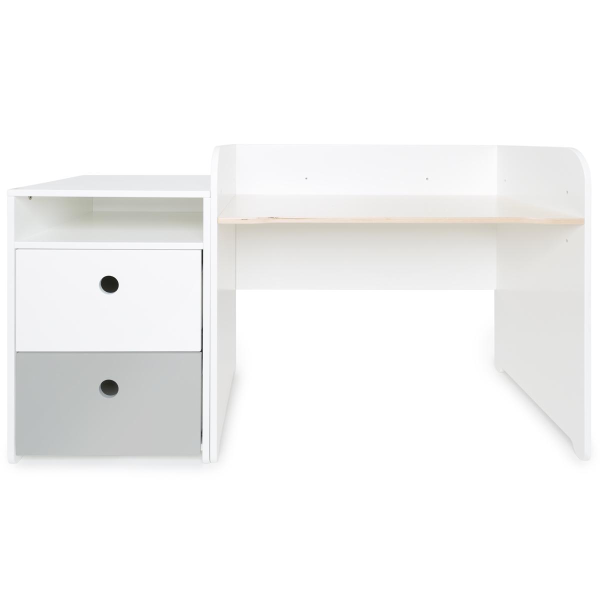 Bureau évolutif-petit meuble 2 tiroirs COLORFLEX white-pearl grey
