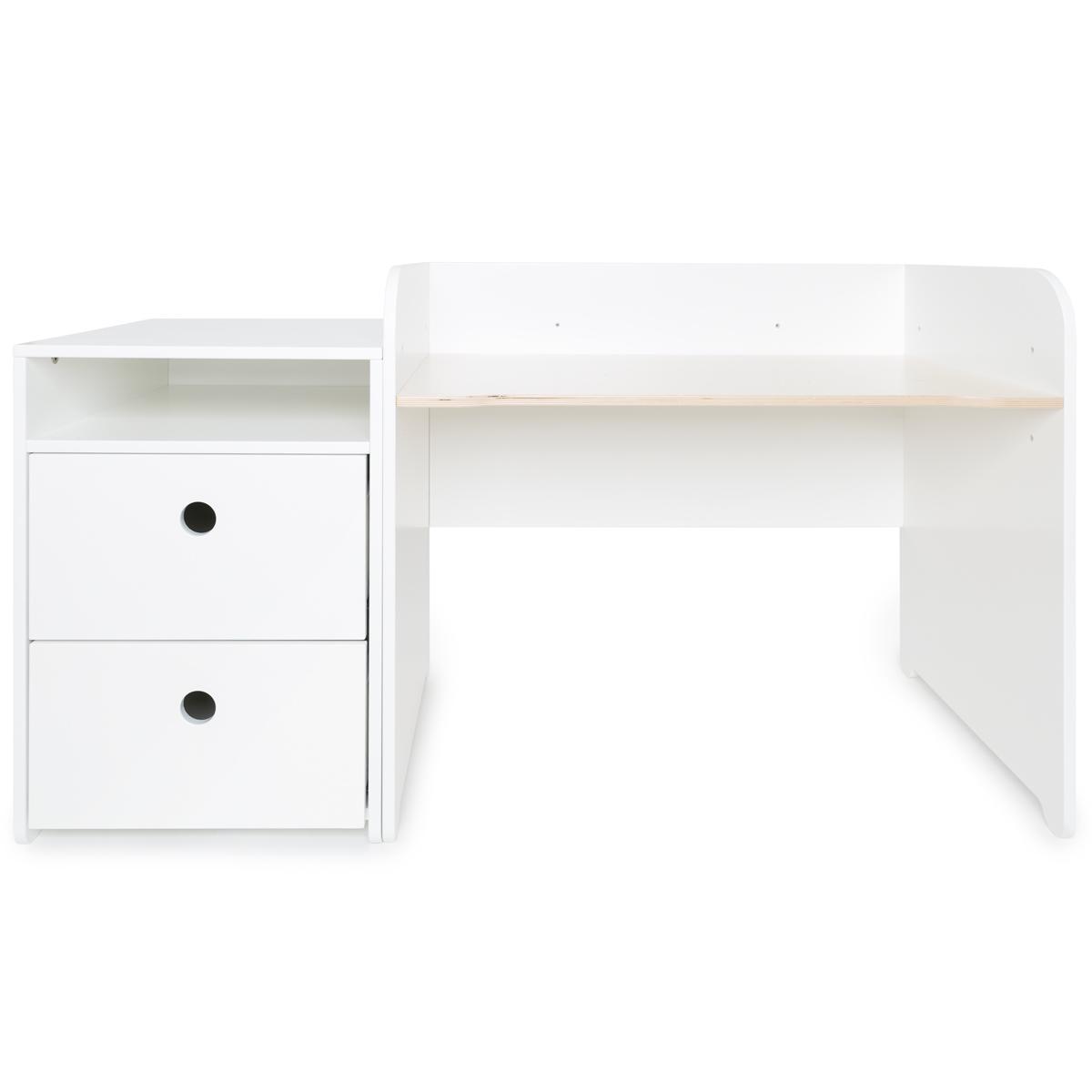Bureau évolutif-petit meuble 2 tiroirs COLORFLEX white