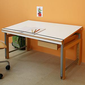 Bureau ZIGGY De Breuyn structure métal gris-pieds hêtre-plateau blanc