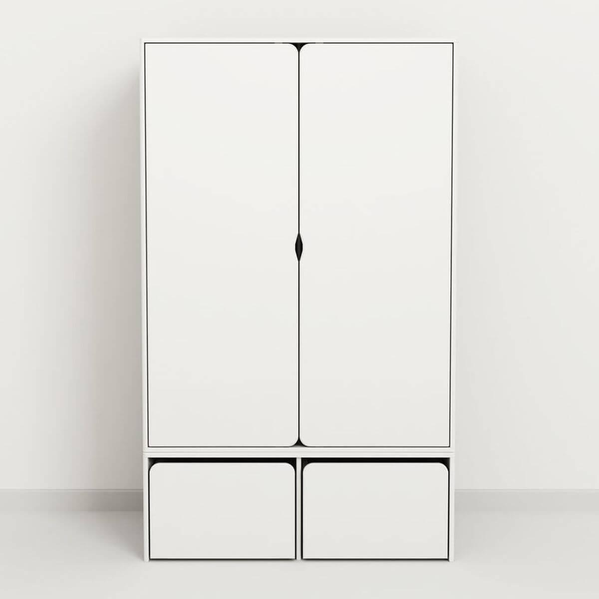 CABBY by Flexa Garde-robe basse 2 portes Blanc