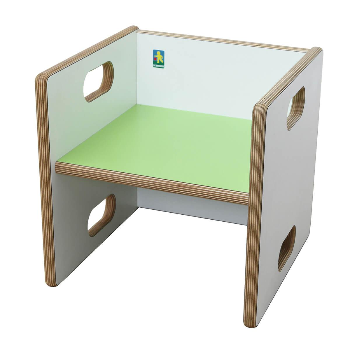 Chaise évolutive Ziggy de Breuyn Multiplex white HPL - seat lime green