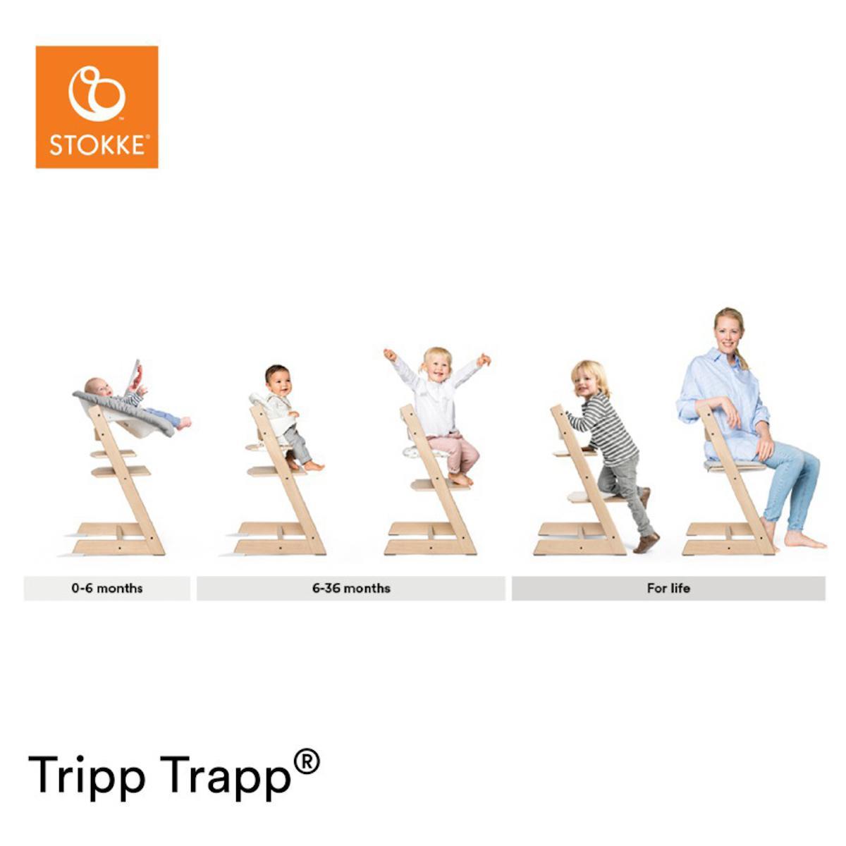 Chaise haute chêne TRIPP TRAPP Stokke gris pâle