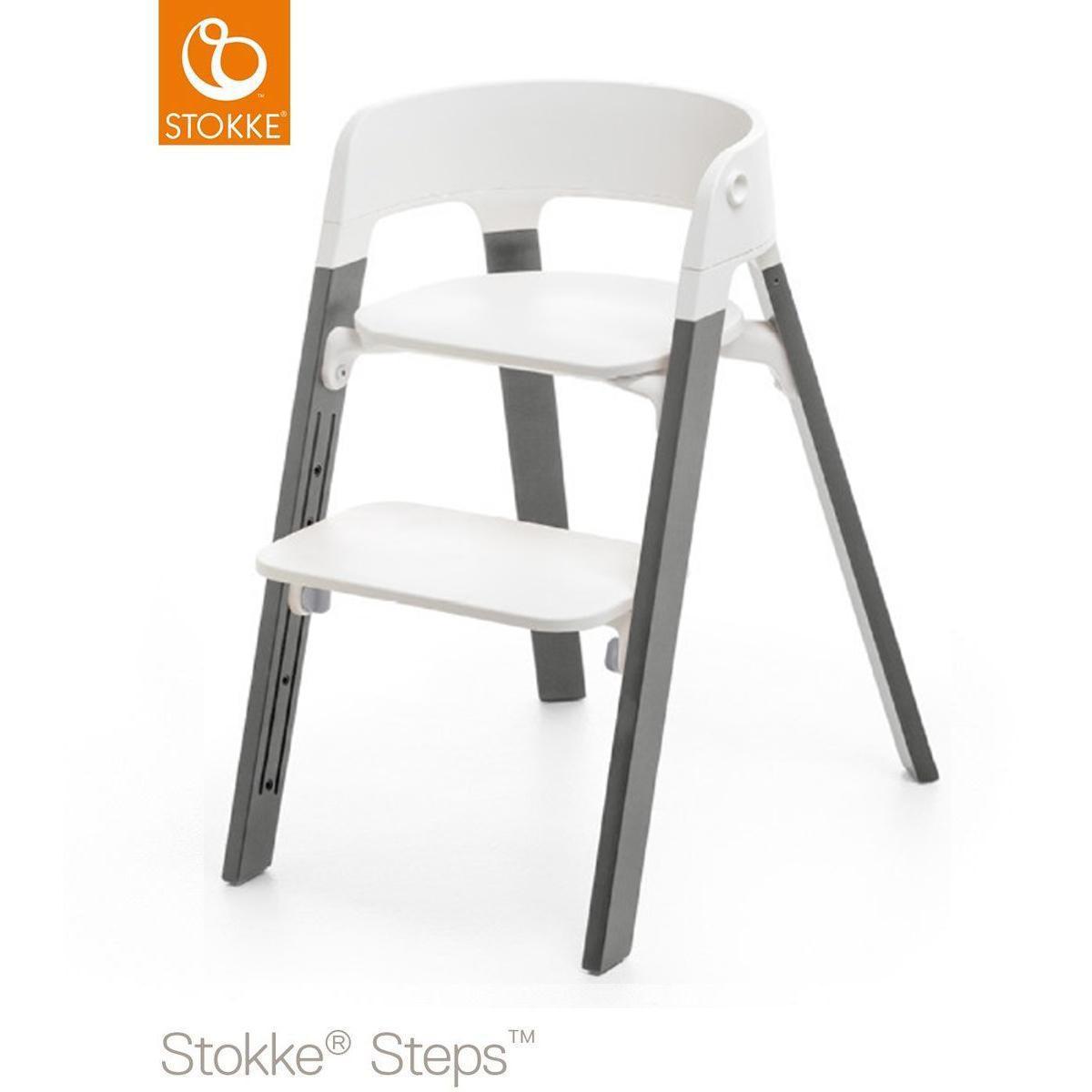 Chaise haute hêtre STEPS Stokke gris
