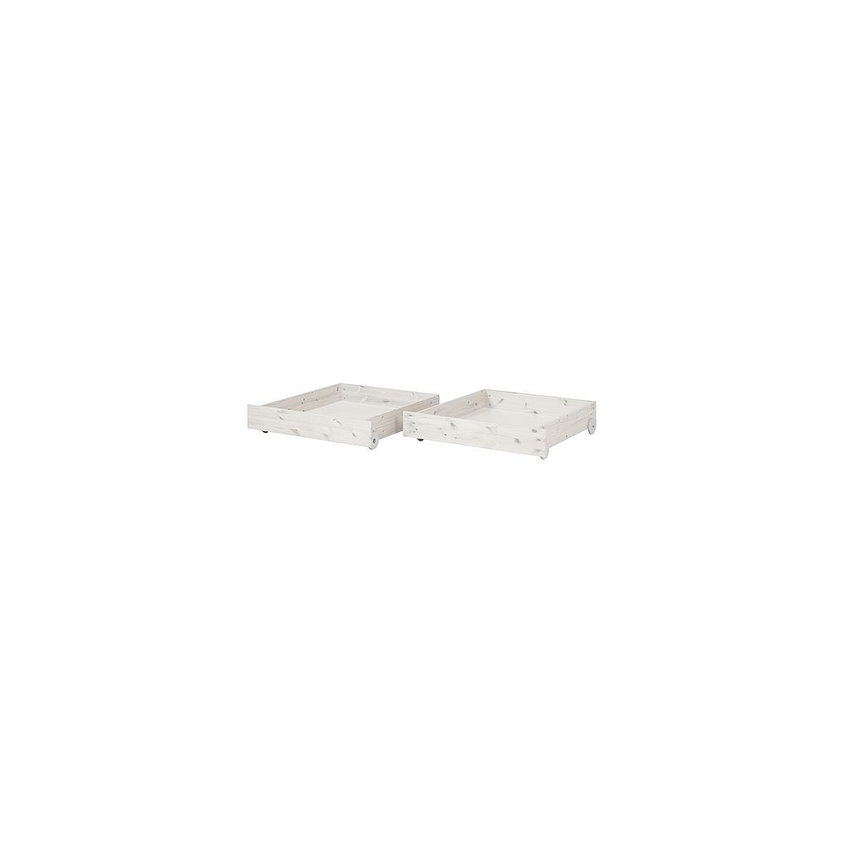 CLASSIC by Flexa Ensemble de 2 tiroirs blanchis pour lit simple ou lit superposé 90x190 cm
