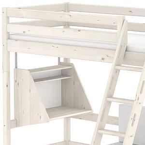 CLASSIC by Flexa Lit mezzanine 90X190 + échelle inclinée + poignées intégrées avec bureau Click-On et module de couchage casa (hors matelas)
