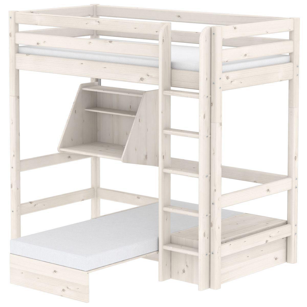 CLASSIC by Flexa Lit mezzanine 90X200 + échelle droite avec bureau Click-On et module de couchage casa (hors matelas)