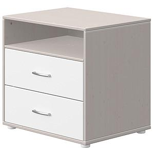 Commode 2 tiroirs 1 tablette CLASSIC Flexa grey washed-blanc