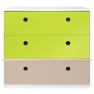 Commode 3 tiroirs COLORFLEX façades tiroirs lime-lime-warm grey