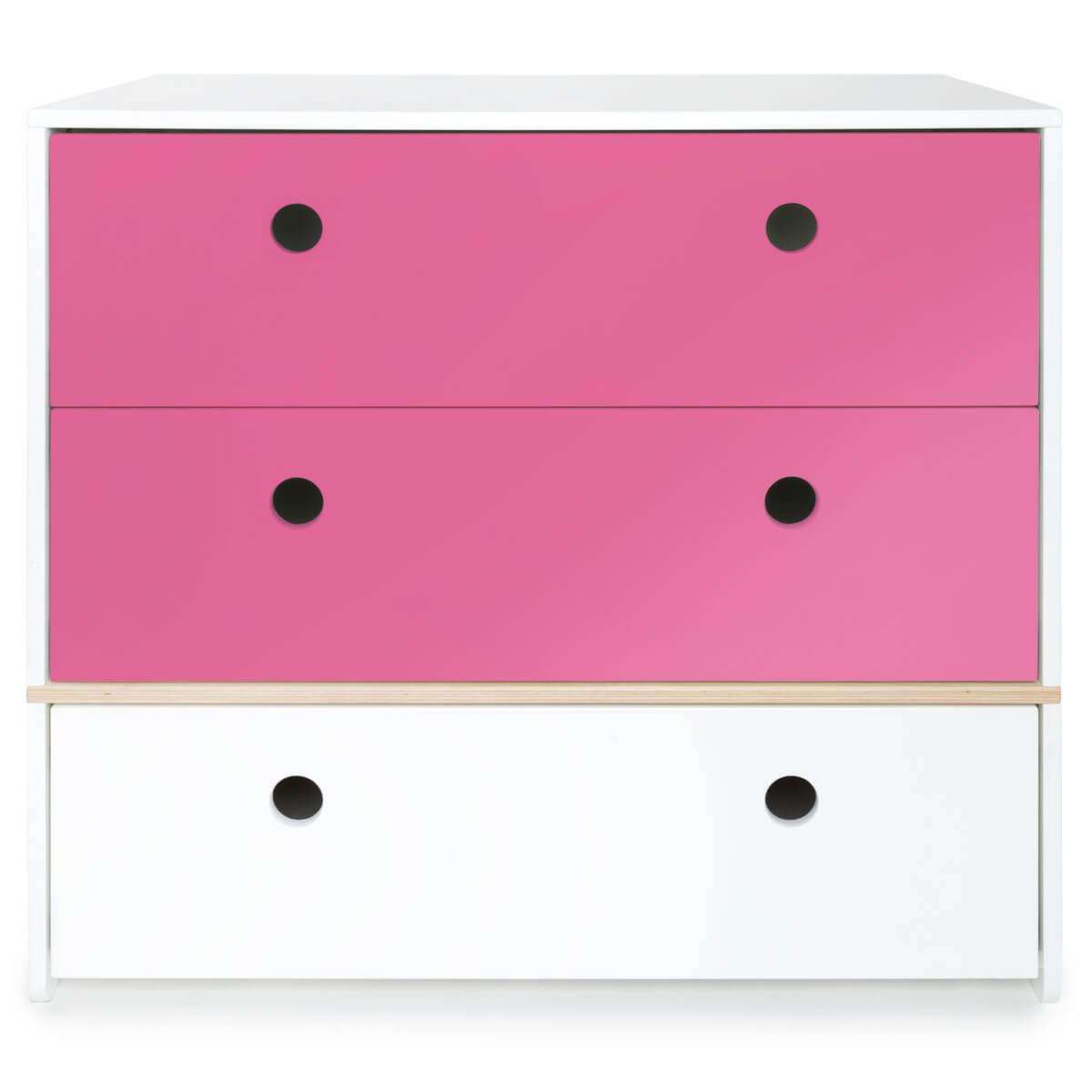 Commode 3 tiroirs COLORFLEX façades tiroirs pink-pink-white