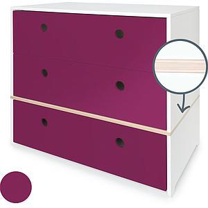 Commode 3 tiroirs COLORFLEX façades tiroirs plum