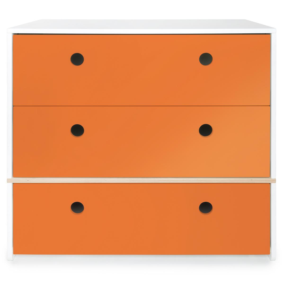 Commode 3 tiroirs COLORFLEX façades tiroirs pure orange