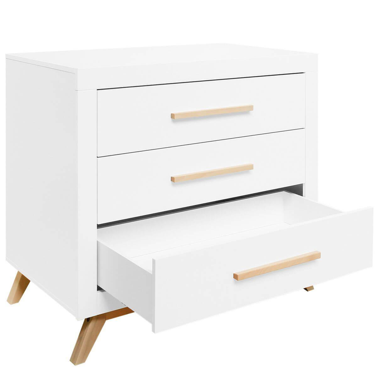 Commode 3 tiroirs FENNA Bopita blanc-naturel