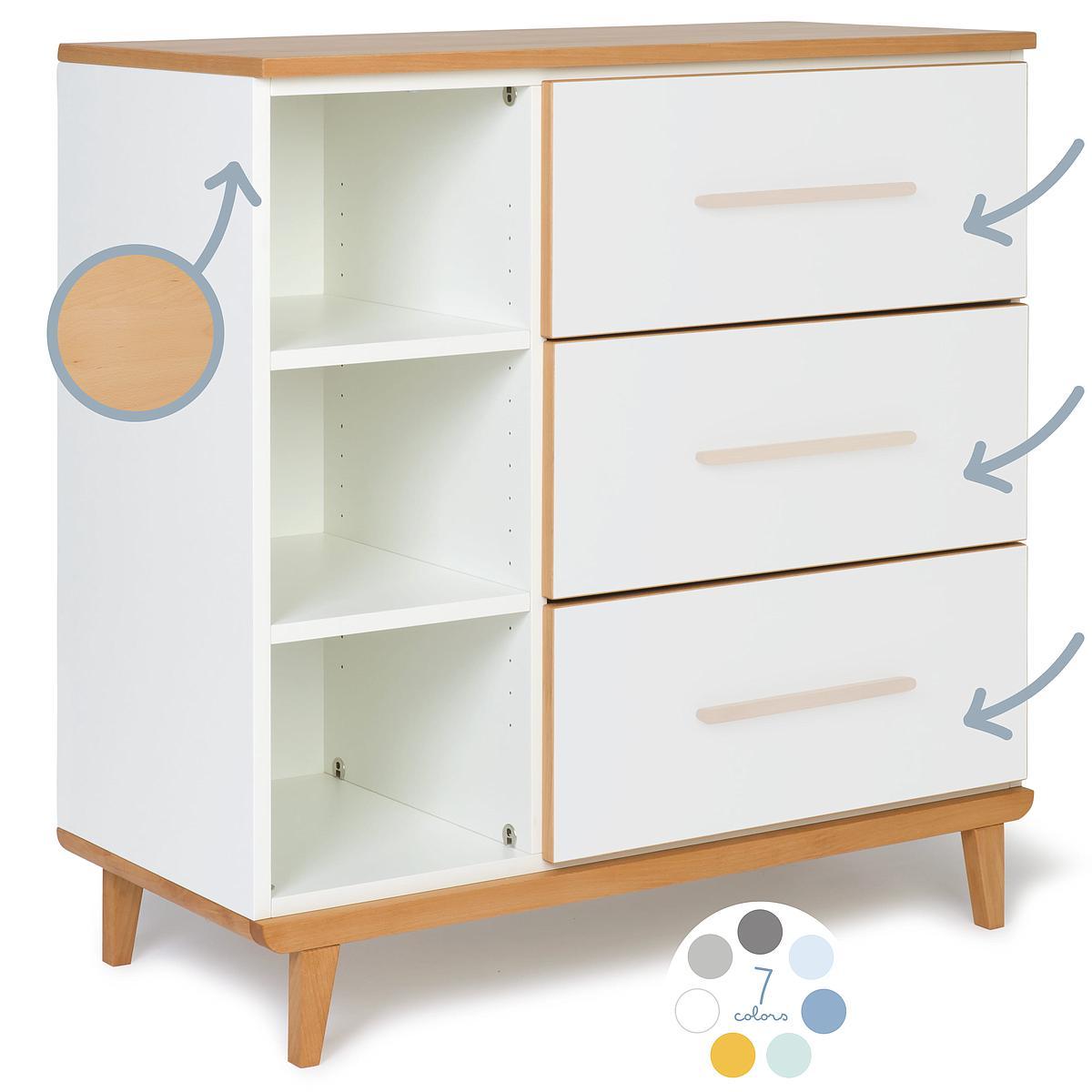 Commode 3 tiroirs hors façades NADO
