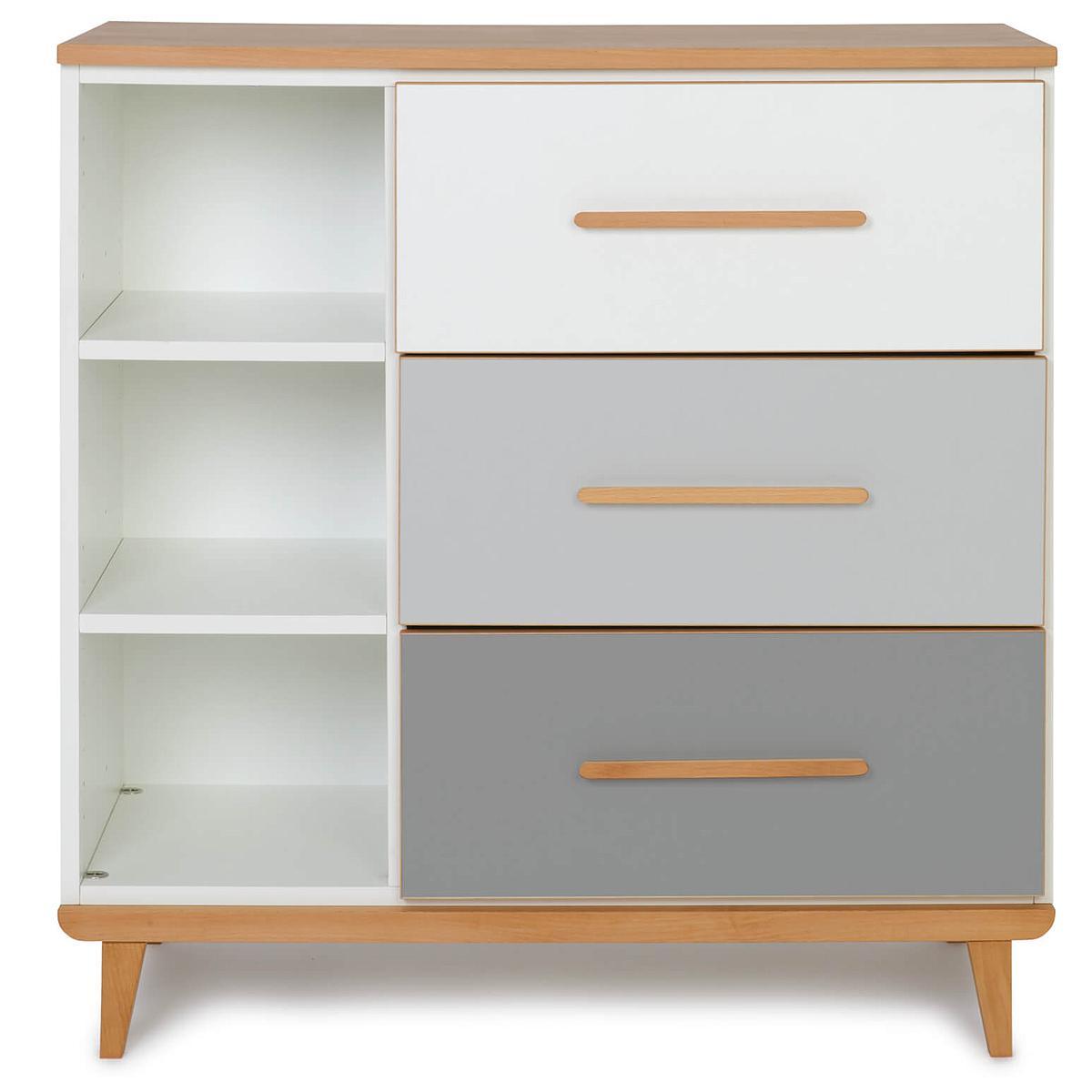 Commode 3 tiroirs NADO white-manhattan grey-slate grey
