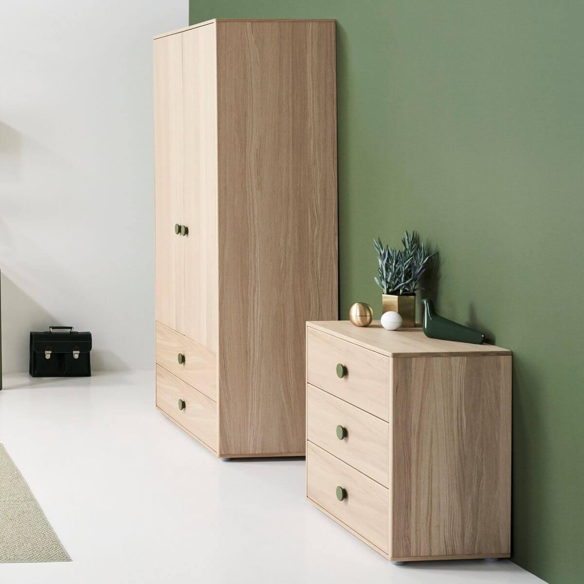 Commode 3 tiroirs POPSICLE Flexa chêne-kiwi