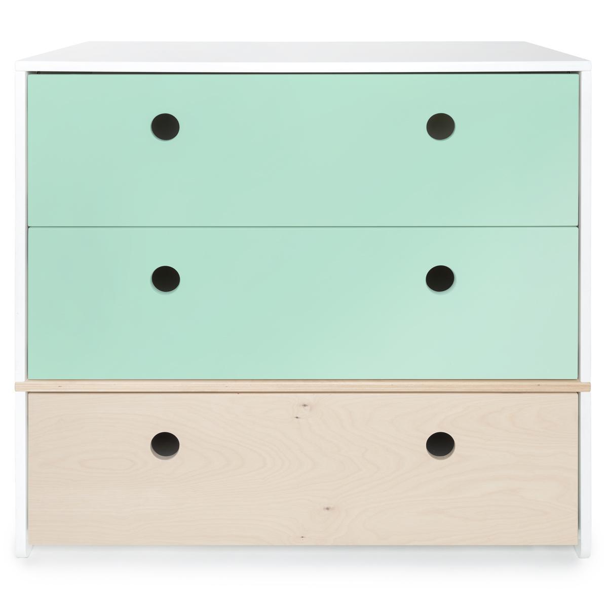 Commode COLORFLEX Abitare Kids façades tiroirs mint-mint-white wash