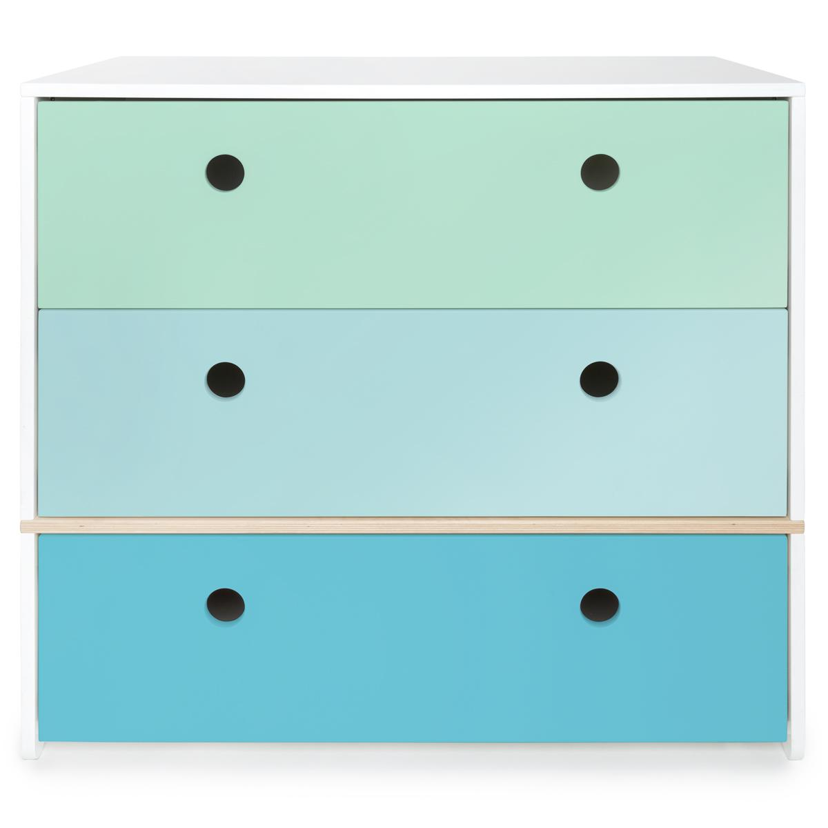 Commode COLORFLEX Abitare Kids façades tiroirs mint-sky blue-paradise blue