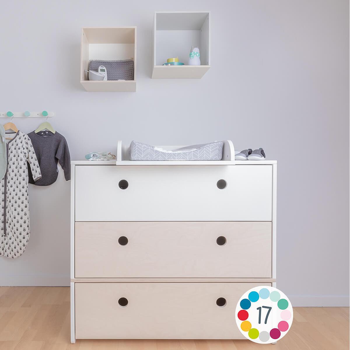 Commode COLORFLEX Abitare Kids façades tiroirs white wash-white wash-white