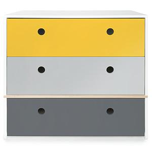 Commode COLORFLEX façades tiroirs nectar yellow-pearl grey-space grey