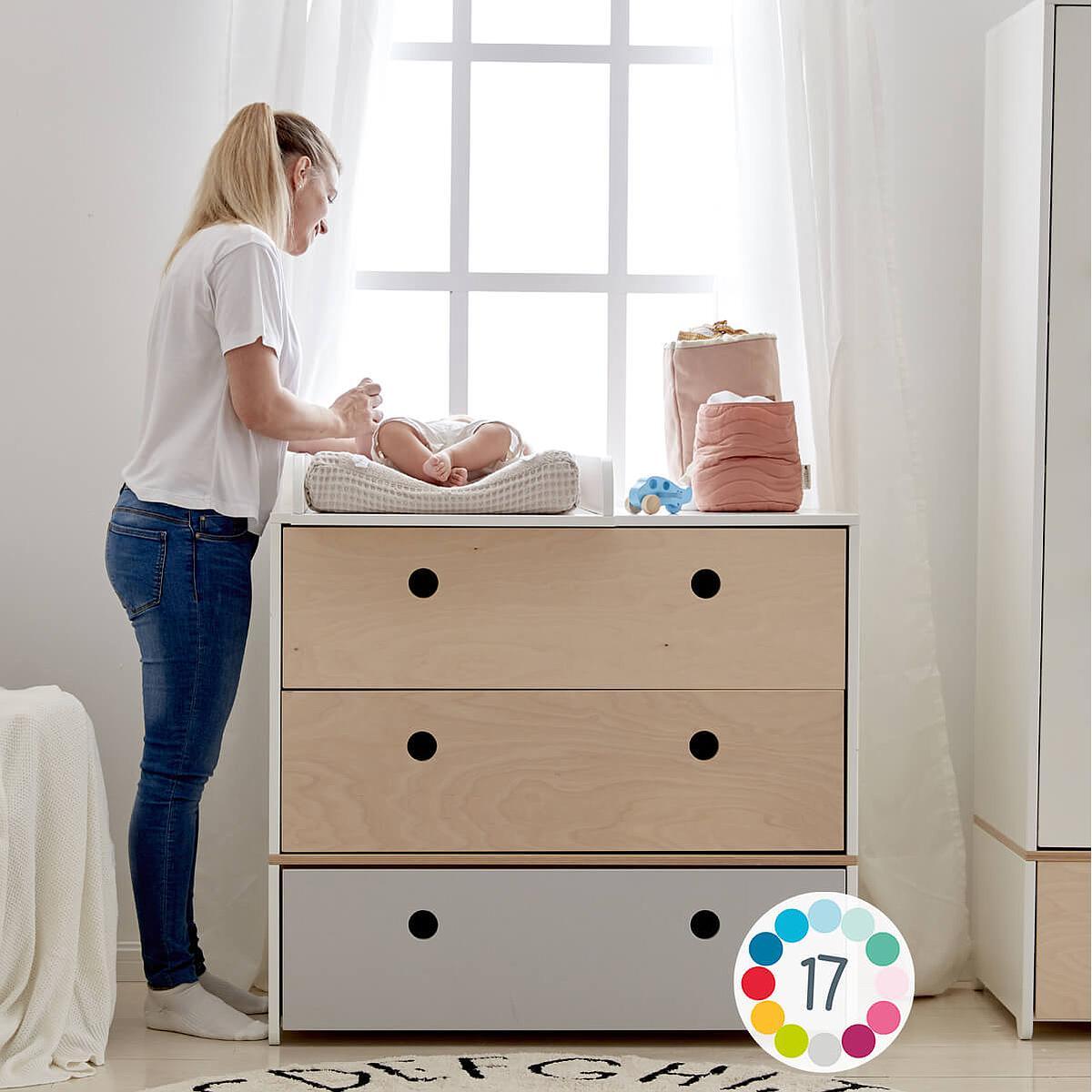 Commode COLORFLEX façades tiroirs pearl grey-pearl grey-white wash