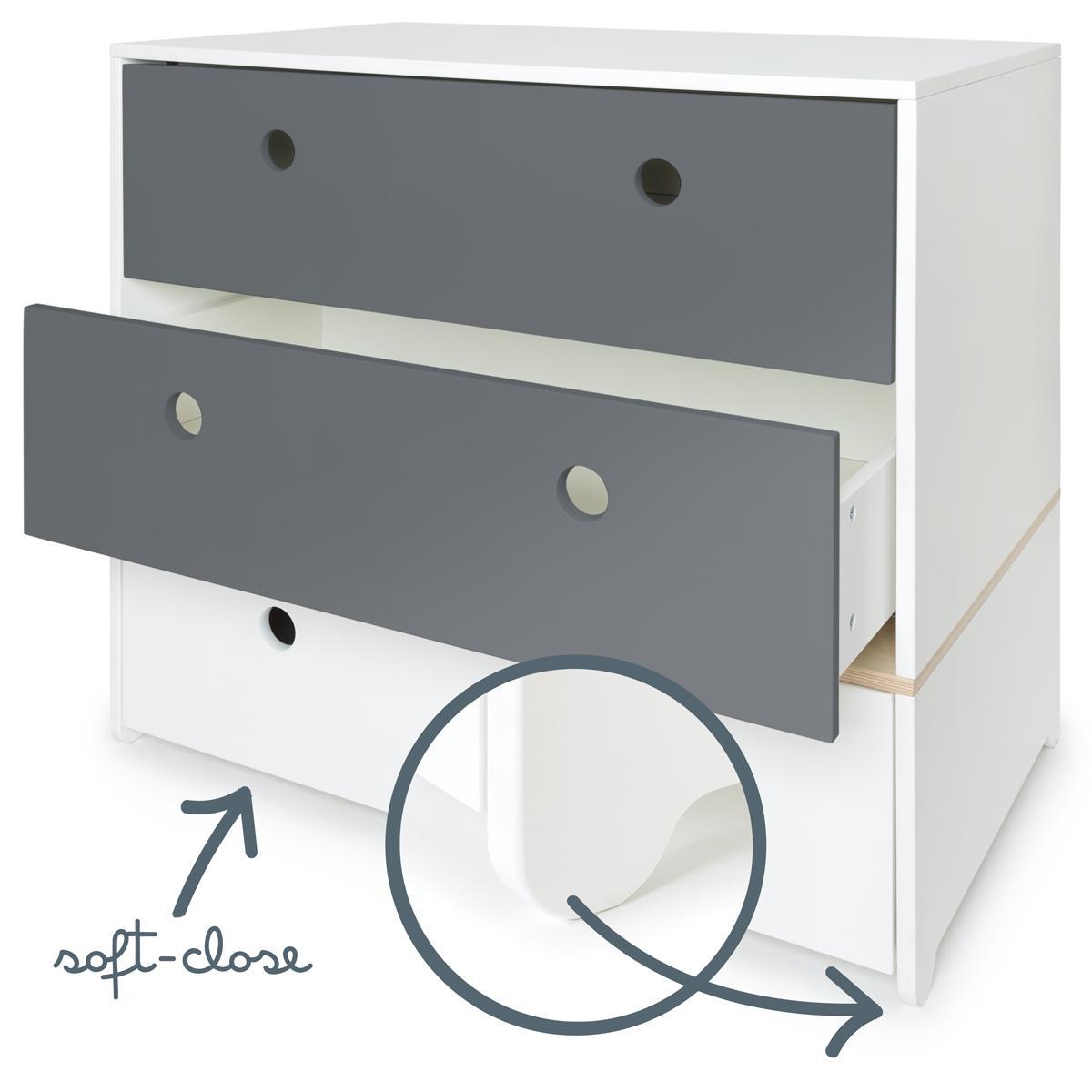 Commode COLORFLEX façades tiroirs space grey-space grey-white