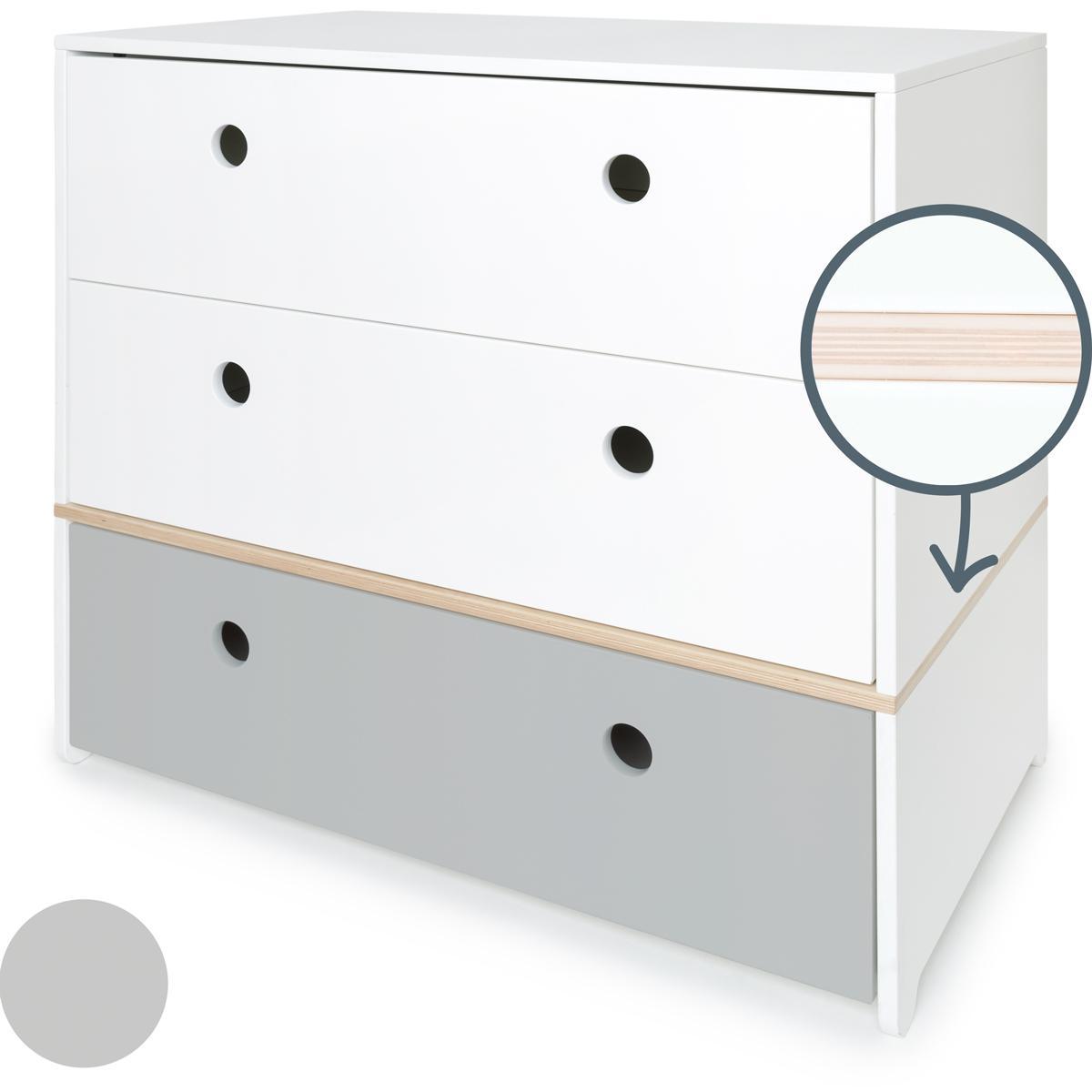 Commode COLORFLEX façades tiroirs white-white-pearl grey