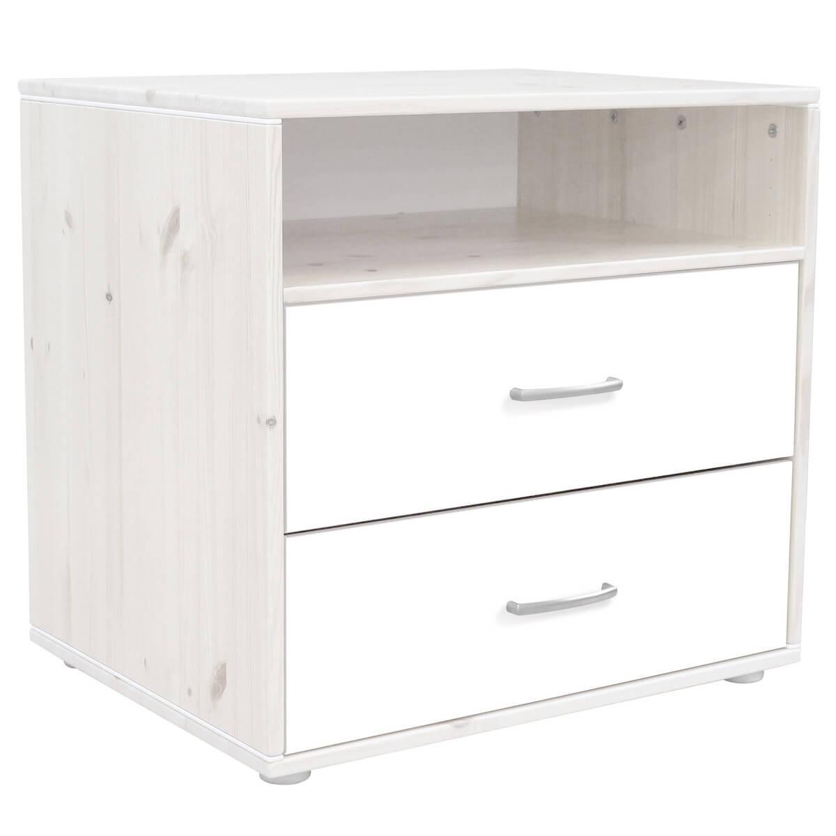 Commode enfant élément 2 tiroirs NEW Classic FLEXA blanchi - blanc - blanc