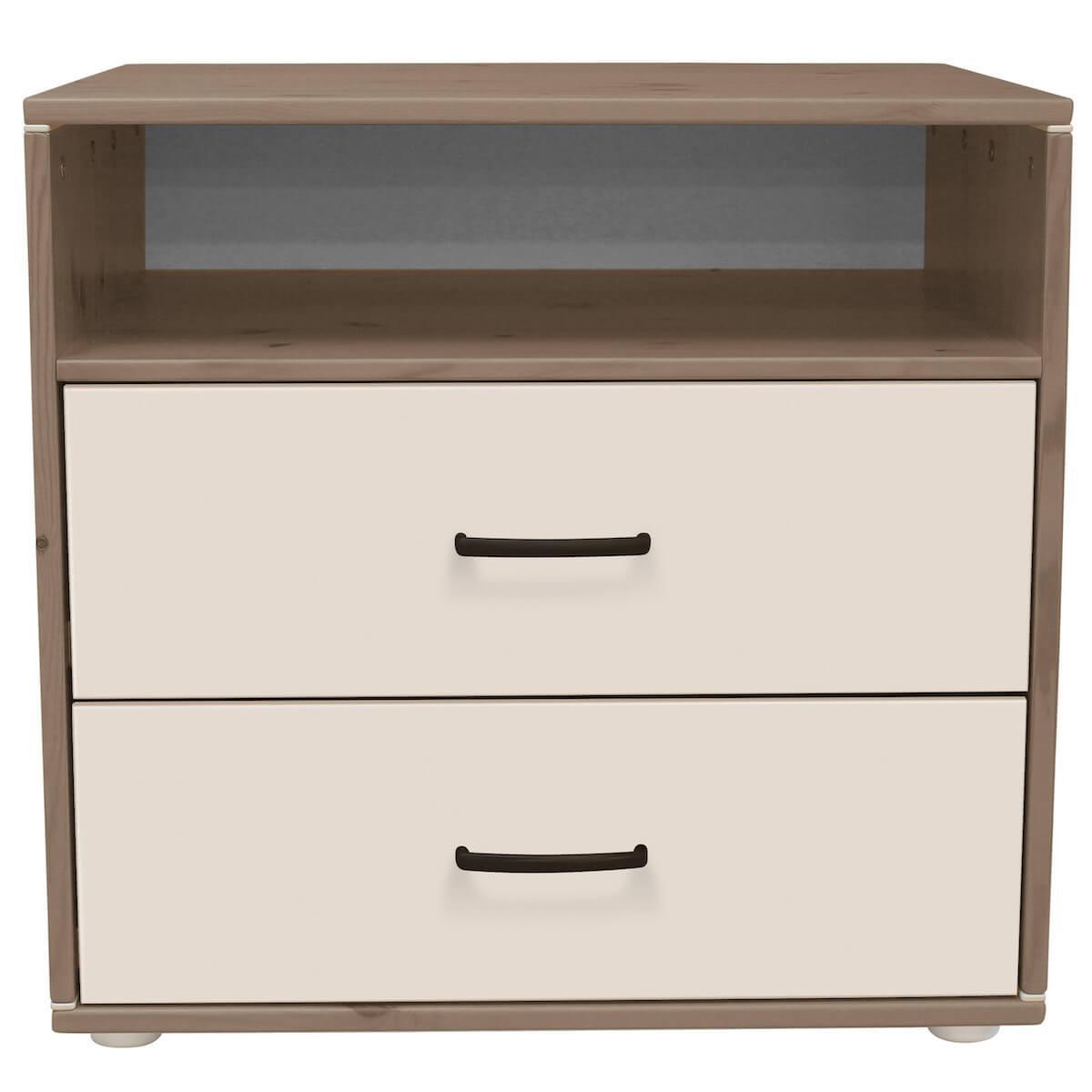 Commode enfant élément 2 tiroirs NEW Classic FLEXA terra - blanc - blanc