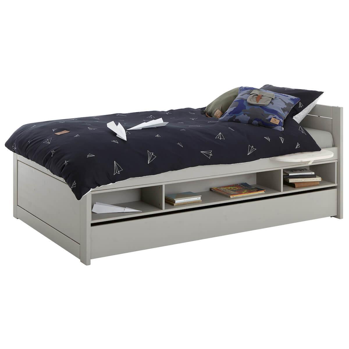 Grand tiroir lit 120x200cm Lifetime gris