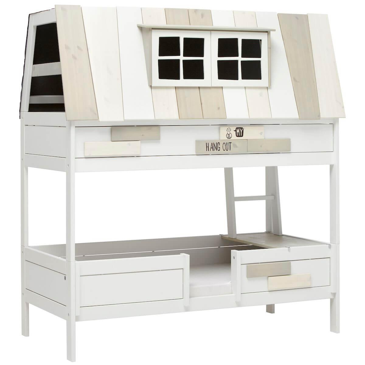 Hang Out by Life Time Lit Cabane blanc laqué sommier luxe
