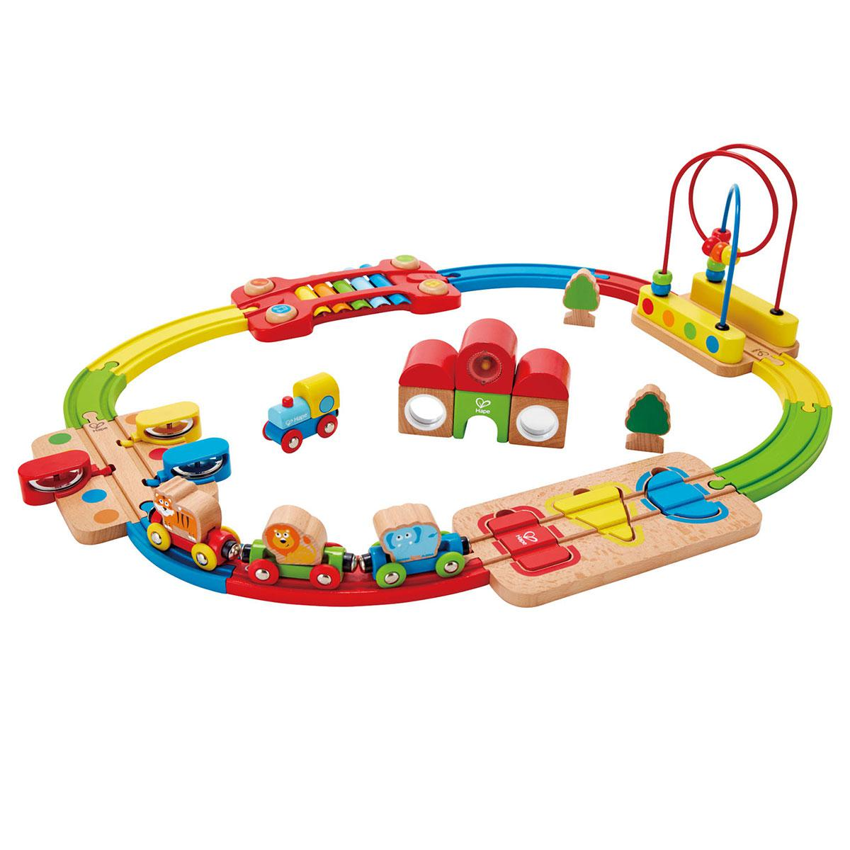 Jeu enfant circuit de train set RAINBOW ROUTE RAILWAY & STATION HAPE
