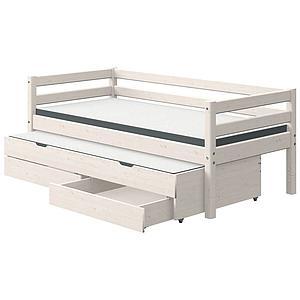 Lit 90x190cm 1 lit gigogne 2 tiroirs CLASSIC Flexa blanchi