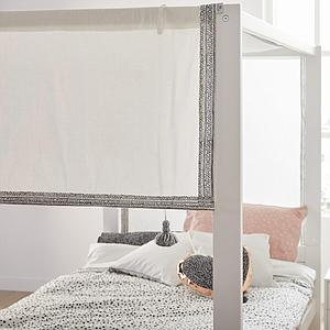 Lit baldaquin 120x200cm sommier luxe Lifetime greywash