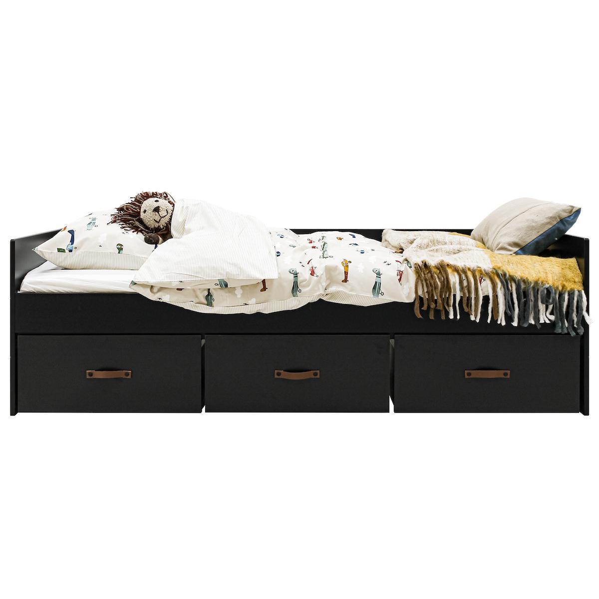 Lit banquette 90x200cm 3 tiroirs FLORIS Bopita Noire Mat-Naturel