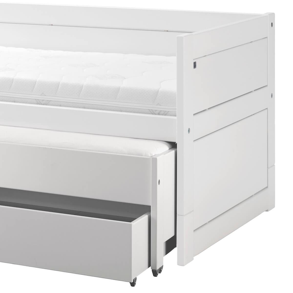 Lit banquette 90x200cm lit gigogne-tiroir Lifetime blanc