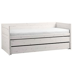 Lit banquette 90x200cm lit gigogne-tiroir Lifetime blanchi