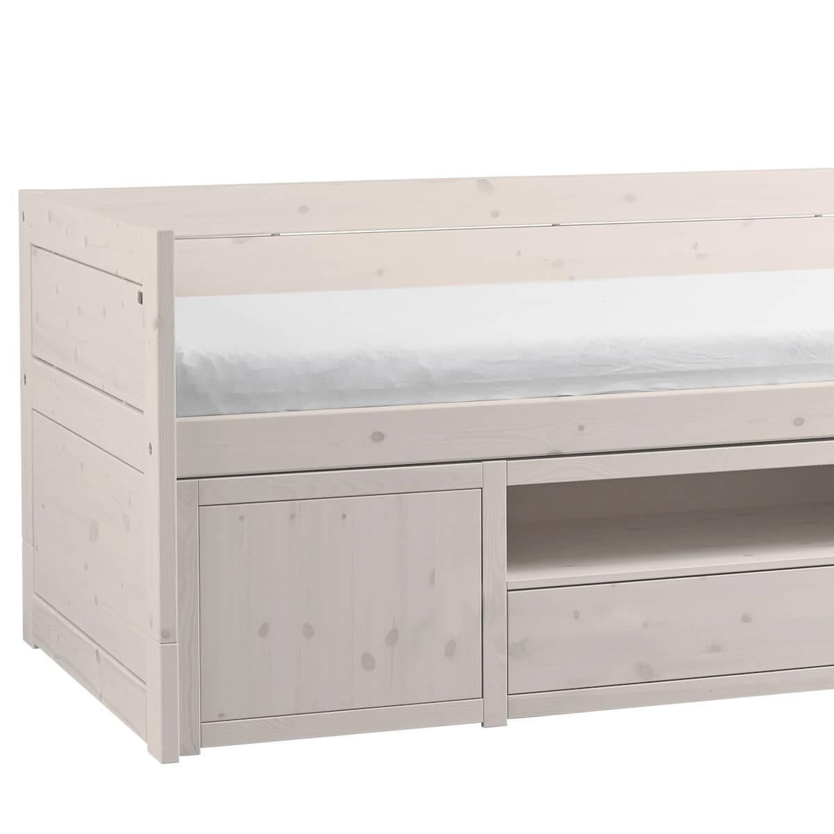 Lit banquette 90x200cm rangement Lifetime blanchi