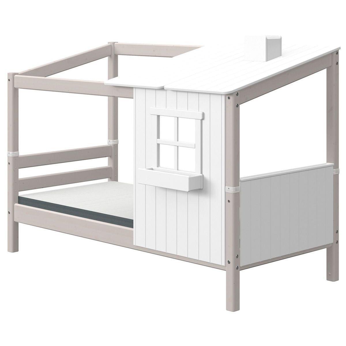 Lit bas évolutif cabane 90x190cm 1-2 PLAY HOUSE CLASSIC Flexa blanc-grey washed