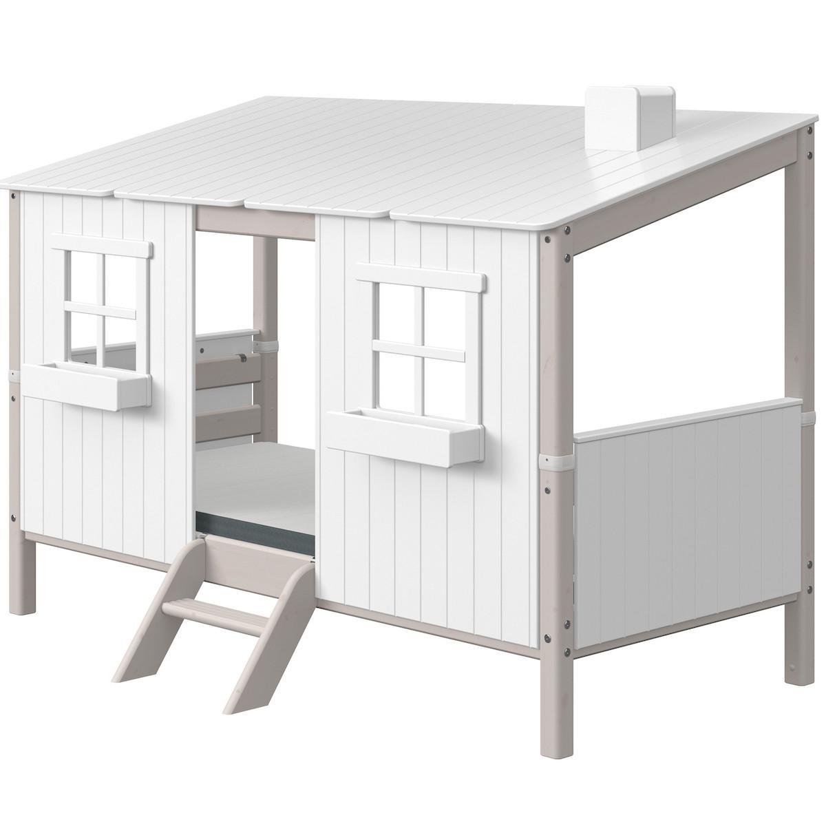 Lit bas évolutif cabane 90x200cm 1-2 PLAY HOUSE CLASSIC Flexa grey washed-blanc