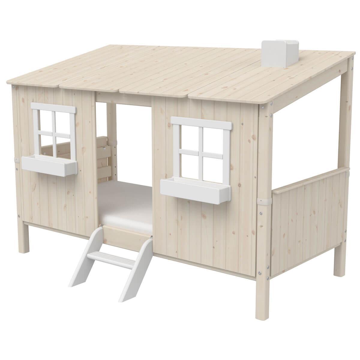 Lit bas évolutif cabane 90x200cm 1/1 PLAY HOUSE CLASSIC Flexa blanchi-blanc