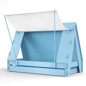 Lit bas-tiroir 90x200cm TENTE Mathy by Bols bleu azur